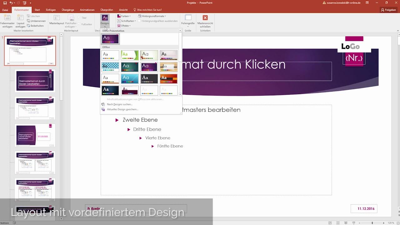 Vorlagen In Microsoft Powerpoint Erstellen Youtube