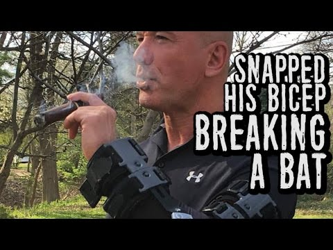 He SNAPPED His Bicep Breaking the 2nd Baseball Bat...