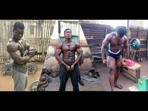 African Bodybuilders Training in STREET GYM 2018