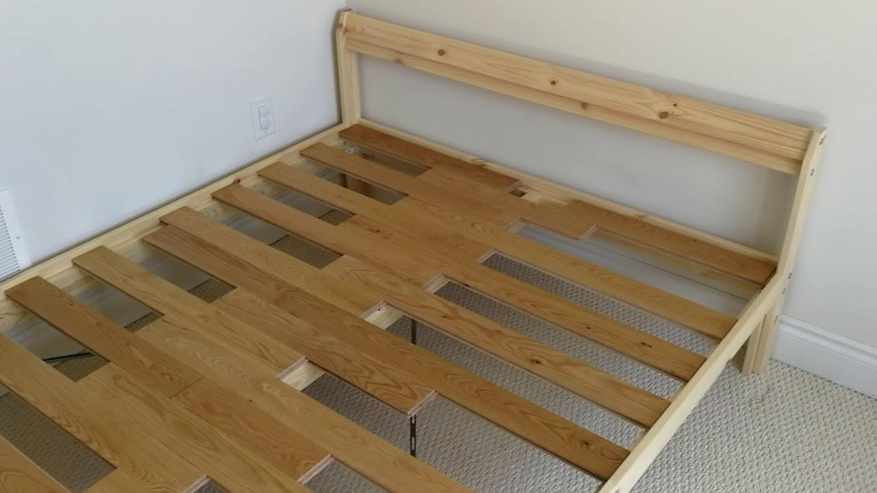 hardwood floor as ikea neiden slatted bed base youtube. Black Bedroom Furniture Sets. Home Design Ideas