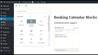 Booking Calendar Blocks - Inserting into page with Gutenberg editor