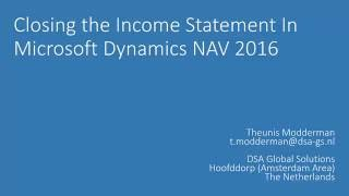 Closing a Fiscal Year in Microsoft Dynamics NAV