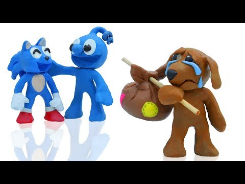 TINY MEETS SONIC AND PUPPY DOG || CLAY MIXER Play Doh Stop Motion