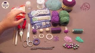 """Вяжем колье крючком """"Мак"""" урок № 1. Обзор материалов для вязания колье."""