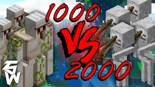 1000 Iron Golems VS 2000 Skeletons | Minecraft Experiment