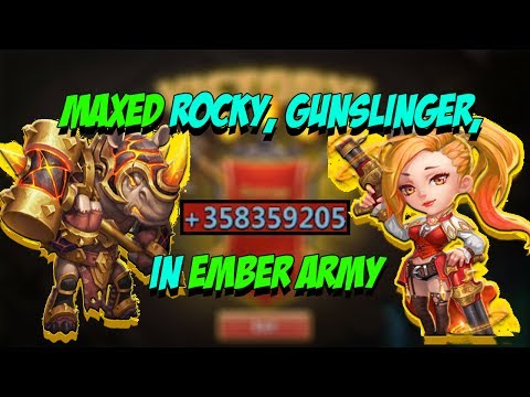 Castle Clash - Ember Army With MAXED Rockno, Gunslinger, Anubis And Michael