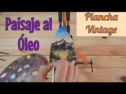 Cómo pintar Paisaje al óleo en Plancha Vintage / Antigua