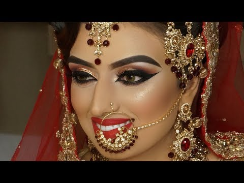 Real Bride  Asian Bridal Traditional Makeup  Dramatic Winged Liner  Cat Eyes And Red Lipstick