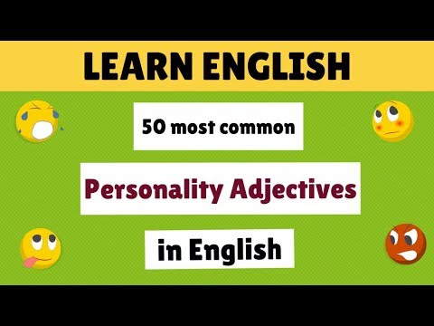 50 most common personality adjectives in English (list)