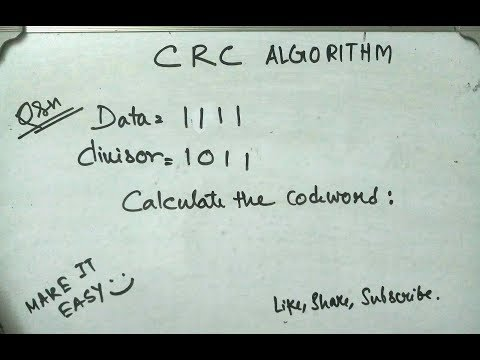 Generate codeword in CRC Algorithm. Take 1111 as dataword and 1011 as divisor.