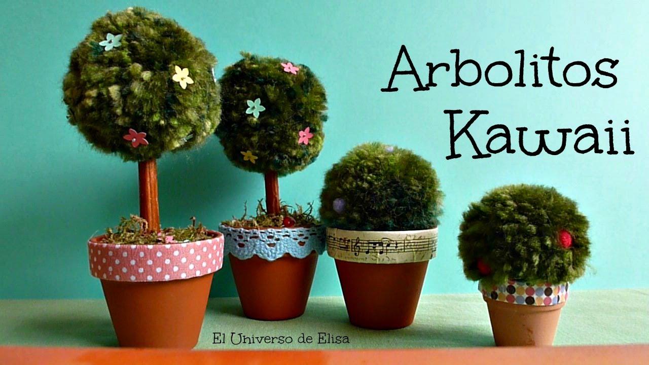 Arbolito y arbusto kawaii manualidades con pompones - Manualidades con pompones ...