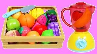 MAGIC Fruit Blender Slime Smoothie Cooking & Learn Fruit Names with Toy Cutting Velcro Fruit!