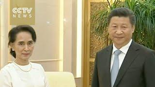 Xi Jinping meets with Aung San Suu Kyi in Beijing