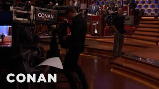evan peters shows off his tv humping skills conan on tbs
