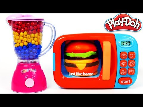 Thumbnail: Hamburger Squishy Toy and MIcrowave Kitchen Toy Appliance Playset Learn Colors with Play Doh