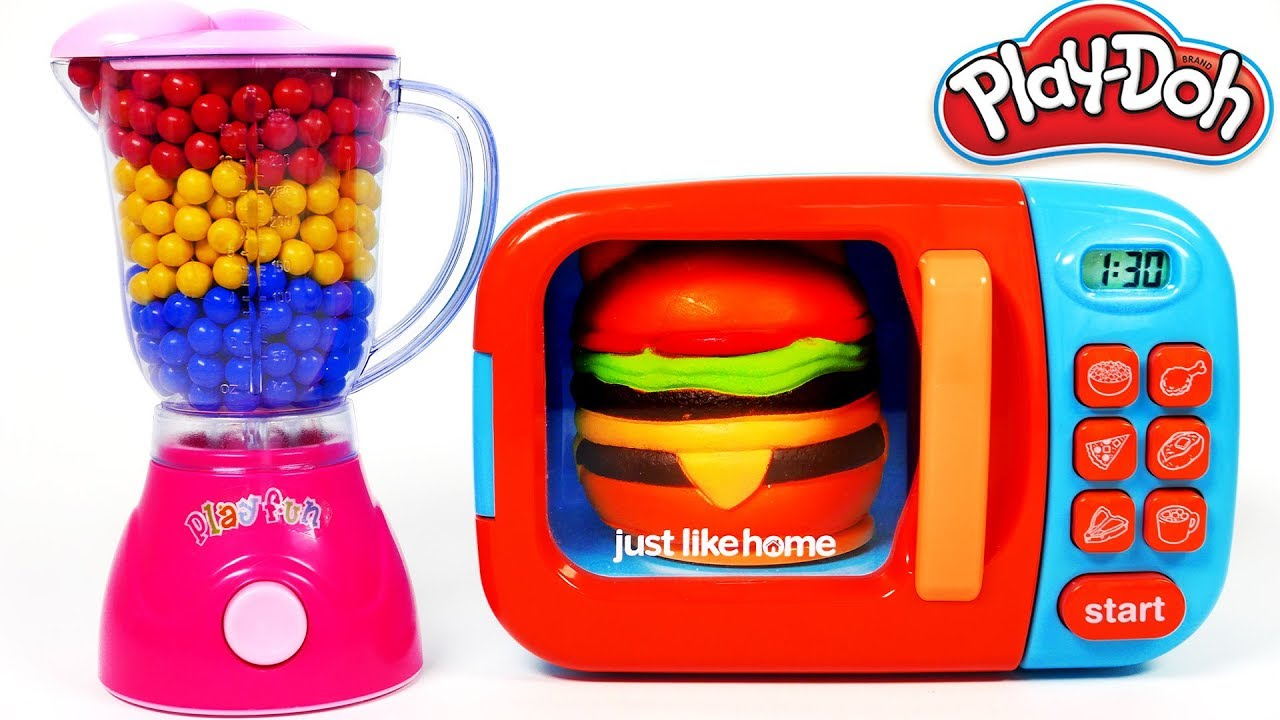 Hamburger Squishy Toy And Microwave Kitchen Toy Appliance