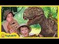 Giant Life Size T-rex Dinosaur Vs Park Ranger Aaron In Real Life At Playground In Fun Kids Toy Video video