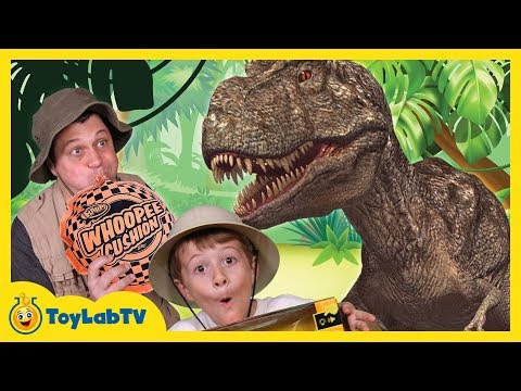 Thumbnail: GIANT Life Size T-REX Dinosaur vs Park Ranger Aaron In Real Life at Playground in Fun Kids Toy Video