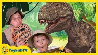 GIANT Life Size T-REX Dinosaur & Park Ranger Aaron at Playground in Fun Kids Toy Dinosaurs Video