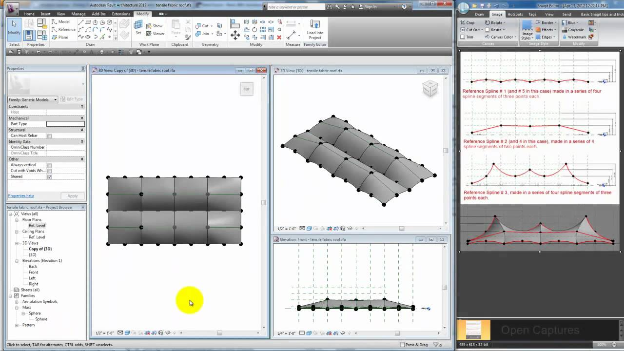 Modeling a tensile fabric roof in Revit  sc 1 st  YouTube & Modeling a tensile fabric roof in Revit - YouTube