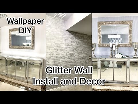 WALLPAPER INSTALLATION DIY MAKEOVER GLITTER WALL SILVER
