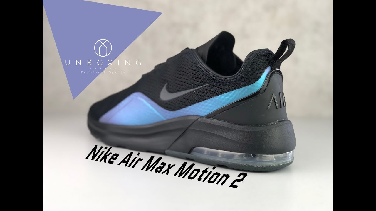 apoyo Principiante considerado  Nike Air Max Motion 2 'Black/Anthracite-Racer Blue' | UNBOXING & ON FEET |  fashion shoes | 2019 - YouTube