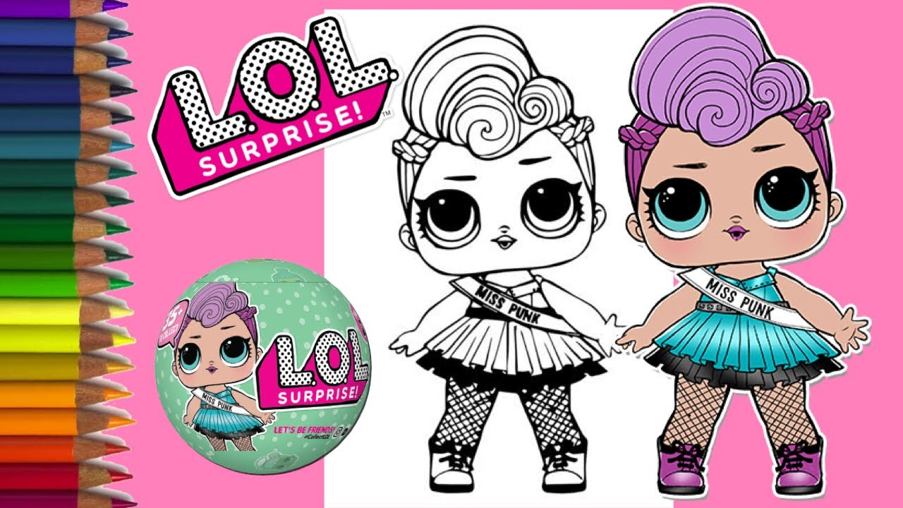 coloring lol surprise doll | miss punk - youtube