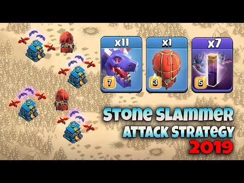 11 Max Dragon 7 Bat Spell Stone Slammer Attack Strategy 2019!  TH12 Best Dragon 3star War Attack