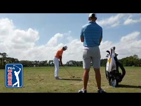Watch Rickie Fowler warming up on the range before Round 4