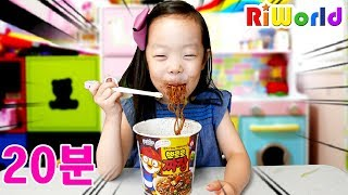 Funny Kitchen play. eating noodle . video for kids. toys. family fun. RIWORLD