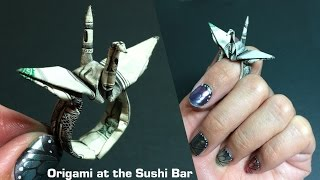 Origami Money Crane Ring (Instructions) Dollar Origami, Moneygami