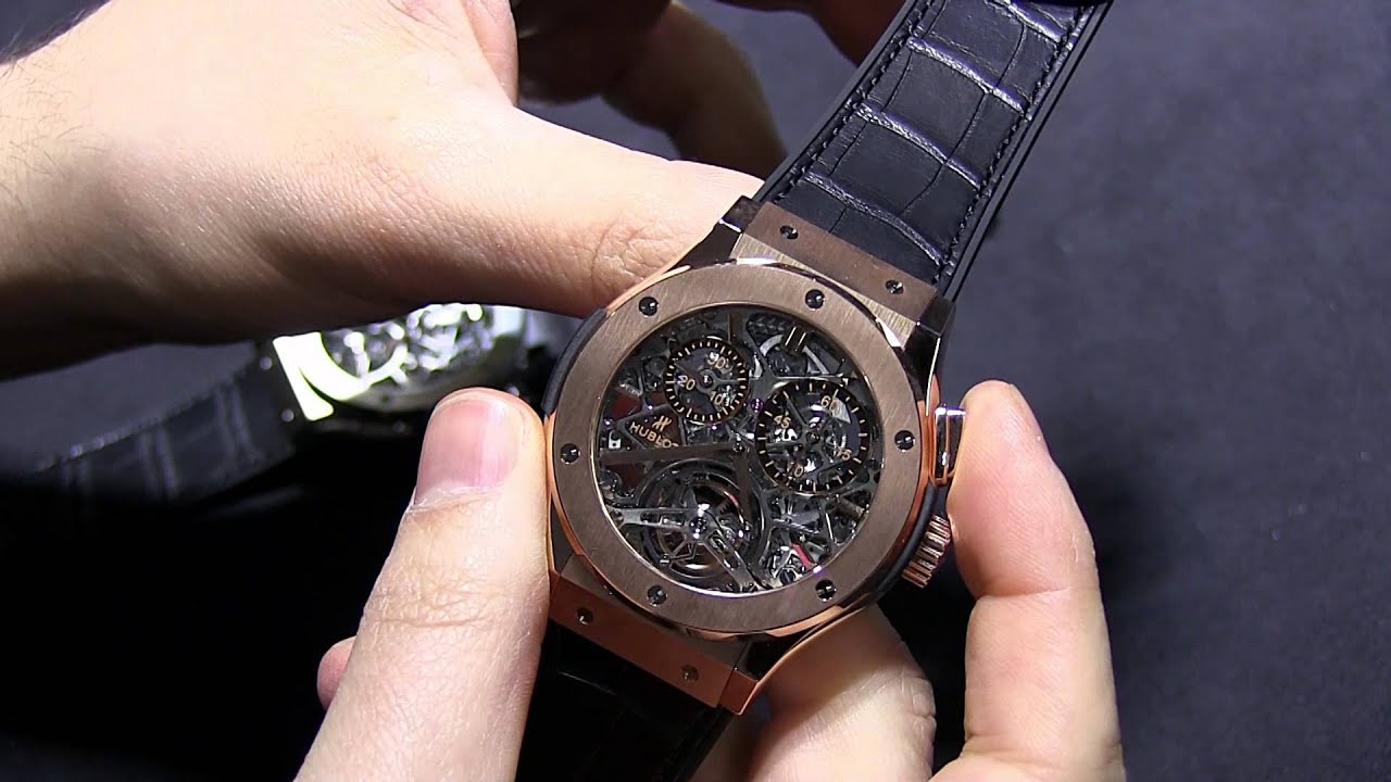 Hublot classic fusion tourbillon chronograph skeleton watches hands on ablogtowatch youtube for Classic skeleton watch