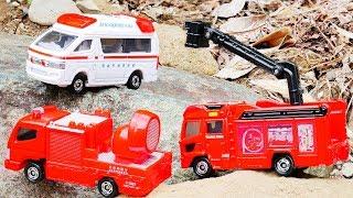 はたらくくるま トミカ 119番! 緊急車両&DVDセットを紹介するよ♪ 消防車 救急車 おもちゃ アニメ 幼児 子供向け動画 TOMICA TOY KIDS Vehicles
