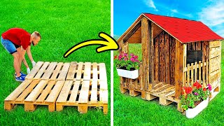 CUTE DIY HOUSE WITH WOODEN PALLETS || 23 DIY Projects With Epoxy And Wood, Workshop Gadgets