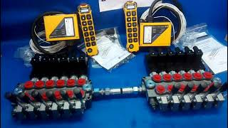 MONOBLOCK HYDRAULIC BANK MOTOR 12 SPOOL VALVES 60 l/min 24V + REMOTE RADIO 2 PILOT KOMATSU DX 65 video
