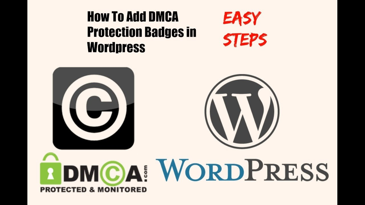 how to add dmca protection badges in wordpress youtube