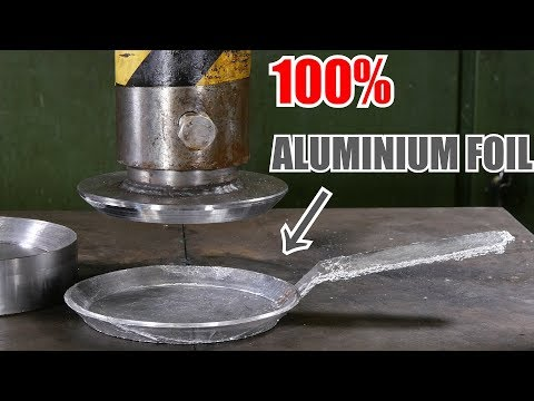 Making Frying Pan from Aluminium Foil with Hydraulic Press | in 4K