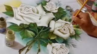 Rosas brancas – Pintura em tecido – parte 4