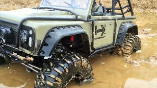 RC 4x4 AXIAL MUD ADVENTURE! - big V8 sound big wheels big mud -