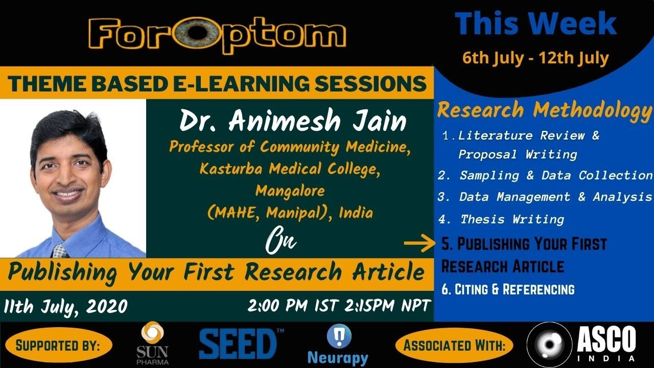 Day -5: Publishing Your First Research Article (Part Five of Weekly Theme - Research Methodology)