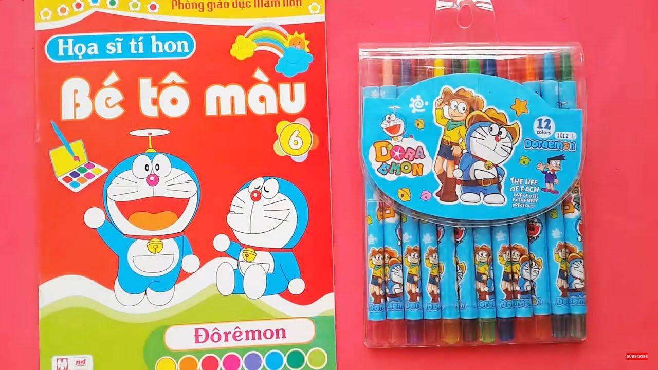 Bé Tập Đếm và Học Màu Sắc với Đồ Chơi Bút Màu Crayola Thông Minh, Vở Tô Màu Doraemon