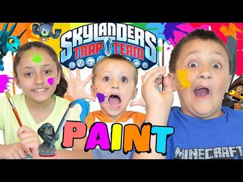 Sky Kids Paint Skylanders Trap Team!  MESSY CHILDREN Part 2 (Wave 4 Custom Painting FUN!)