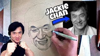 VERY EASY, how to draw JACKIE CHAN