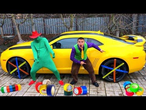 Green Man taped Car Wheel with Scotch Tape VS Mr. Joe in Race on Chevrolet Camaro