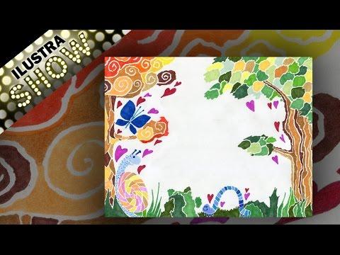 Como decorar carta de amor dibujar naturaleza tutorial - Como adornar una pared ...