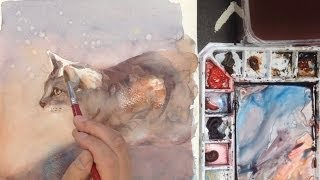 Watercolor of a cat, part2