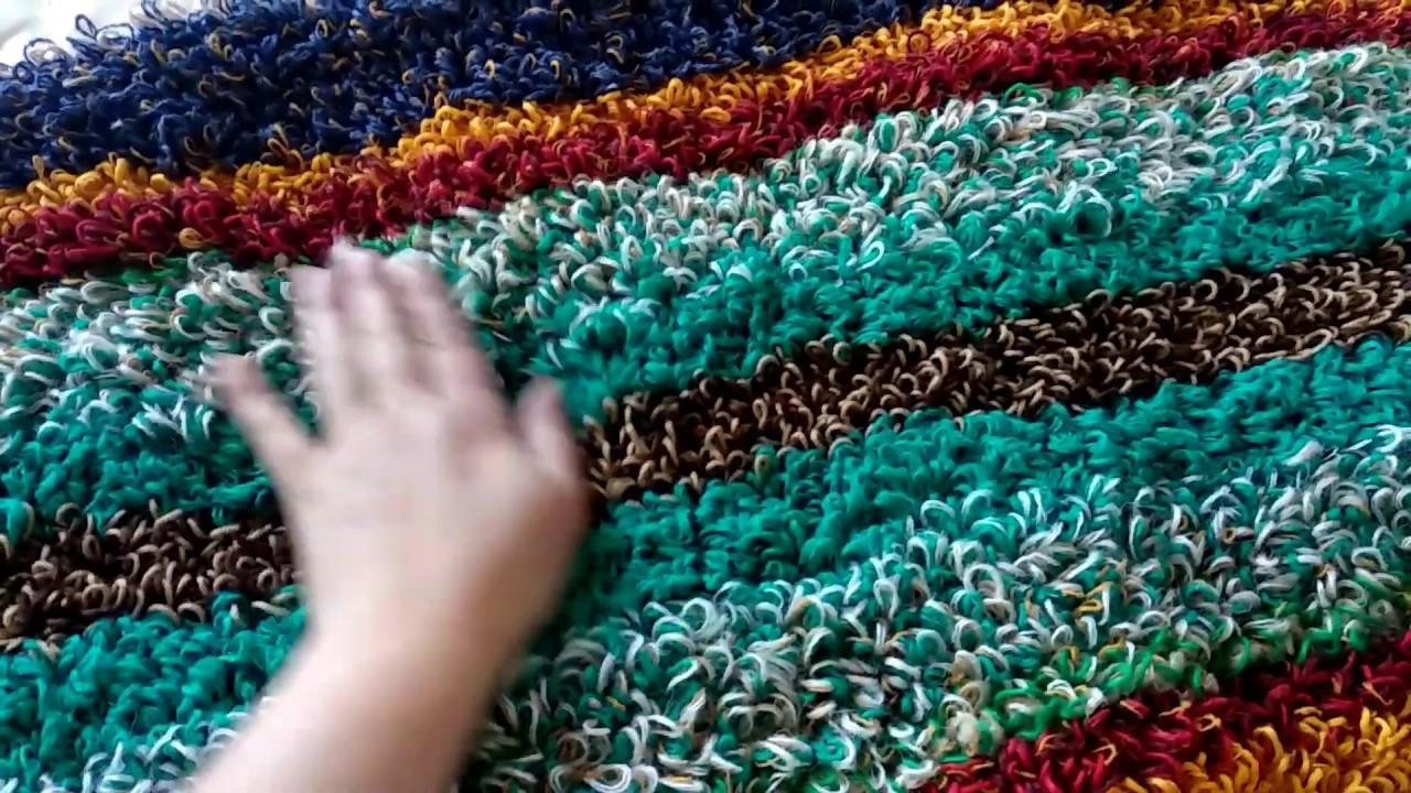 пушистый коврик из остатков пряжи вязание крючком Youtube