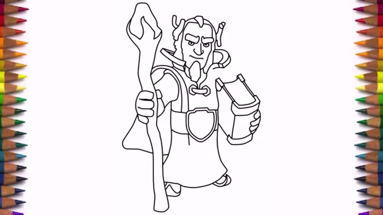 How To Draw Clash Of Clans Characters Grand Warden Troops Hero