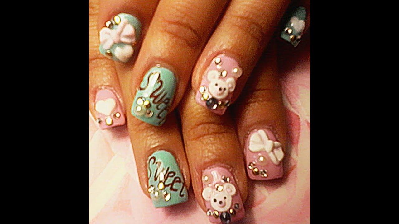 ♥(uñas)diseño dulce en 3D para niñas¡VIDEO # 1♥♥ - YouTube