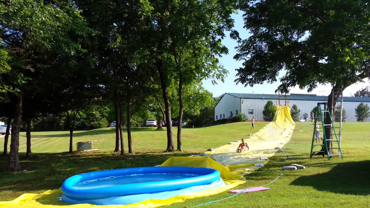zipline slip n slide into blow up pool youtube